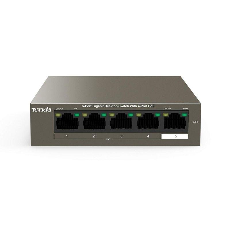 Switch Tenda Teg1105p-4-63w - 4 Puertos 10/100/1000 (datos/poe) - 1 Puerto 10/100/1000 (datos) - Potencia Total Poe 58w - Imagen