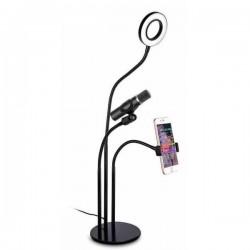 Kit Youtuber L03 Base Anillo Luces LED+ Soporte Smartphone + Soporte Micro + Luz 3. - Imagen 1